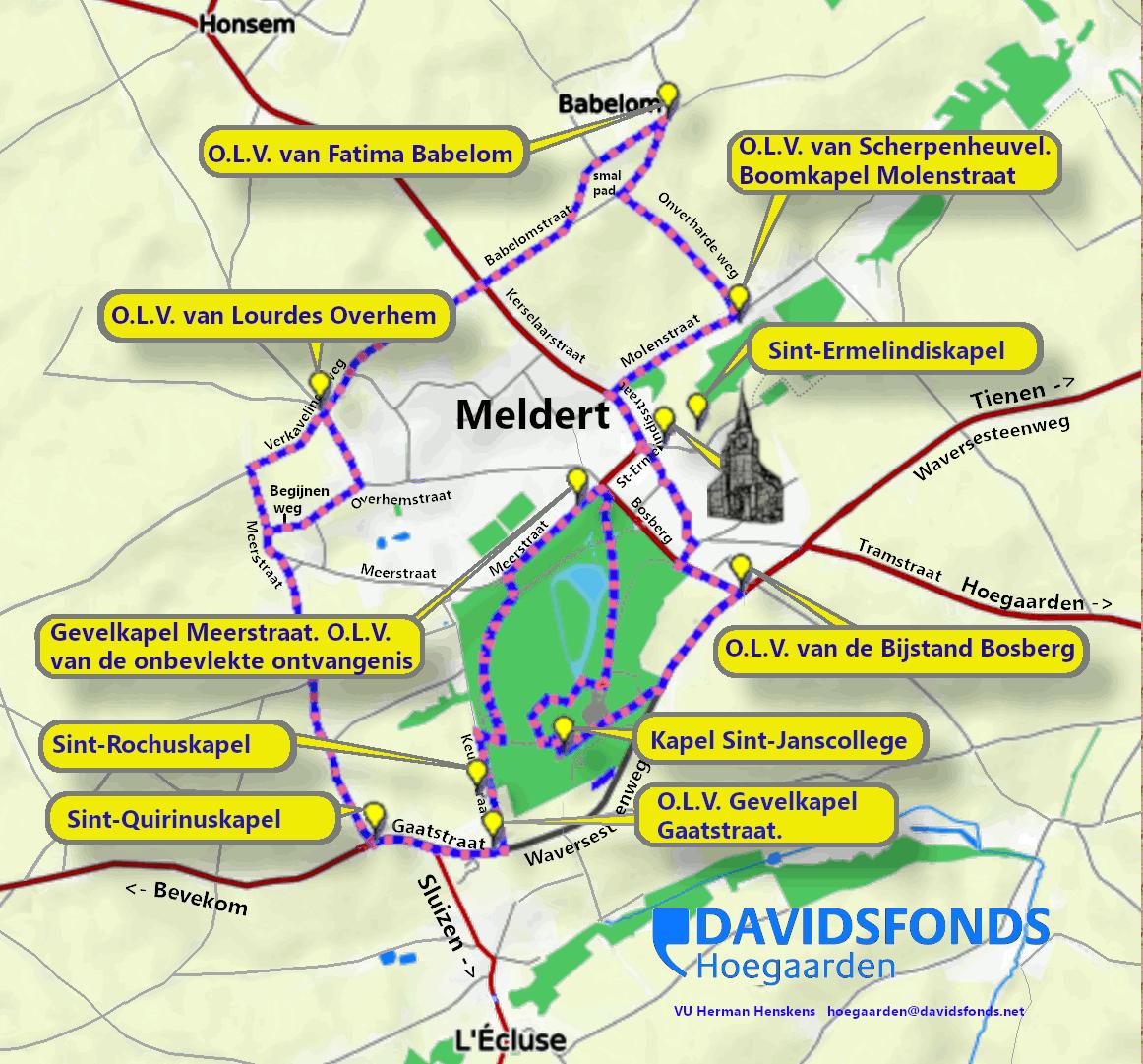 Kaart met de kapellen in Meldert (deelgemeente van Hoegaarden)